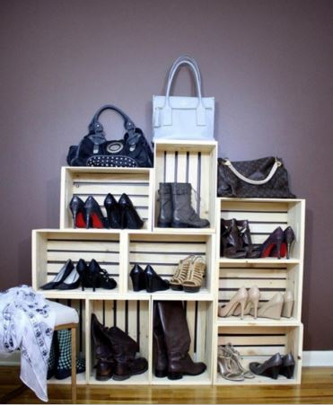 10 id es de rangements chaussures r cup faire soi m me. Black Bedroom Furniture Sets. Home Design Ideas